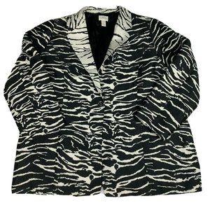 Chico's Women's Blazer Zebra Print Long Sleeve